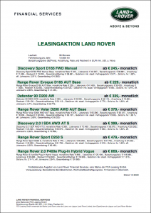 Aktionsleasing Land Rover Q4 bei AUTO STAHL