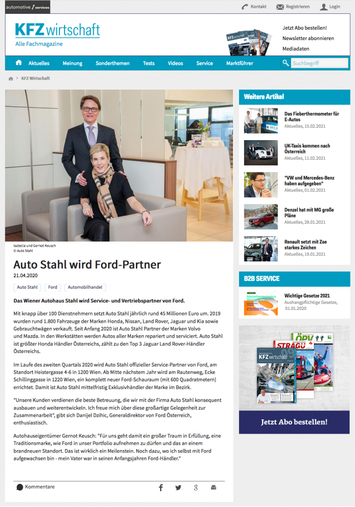 Auto Stahl wird Ford-Partner – Presseartikel com 21.4.2020 Online auf KFZ WIrtschaft