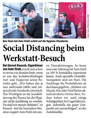 Presseartikel Social Distancing beim Werkstattbesuch