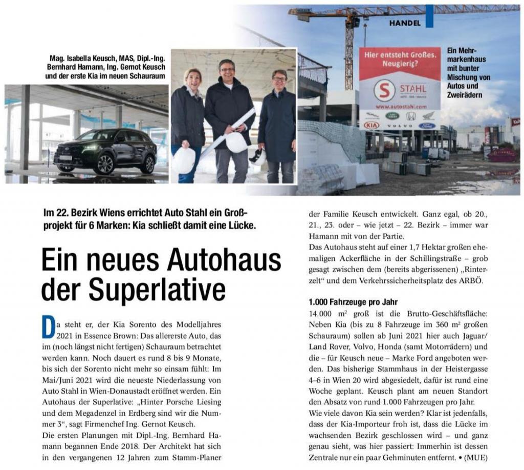 Ein neues Autohaus der Superlative – Presseartikel vom 08.10. 2020 Auto & Wirtschaft