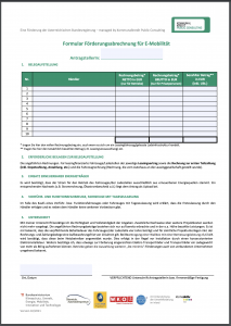 Formular zur Förderabrechnung E-Mobility 2021